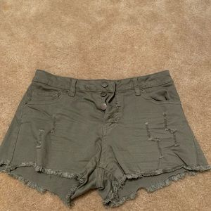 Army green women's jean shorts